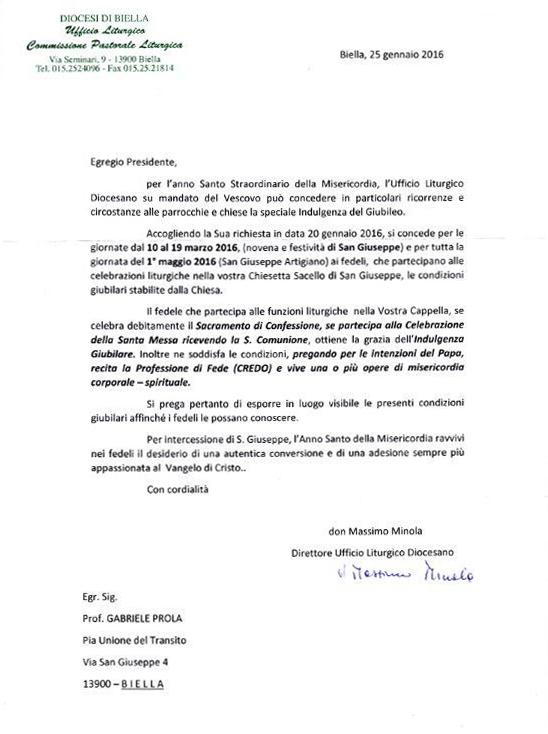 San Giuseppe Biella - Decreto concessione Giubileo